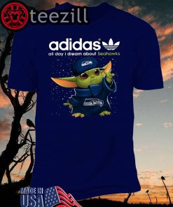 Adidas All Day I Dream About Seahawks Baby Yoda T- Shirts