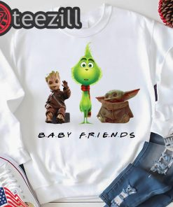 Baby Yoda Baby Grinch And Baby Groot Baby Friends Gift Tshirt
