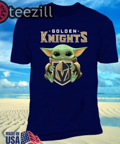 Baby Yoda Hug Logo Golden Knights Shirt