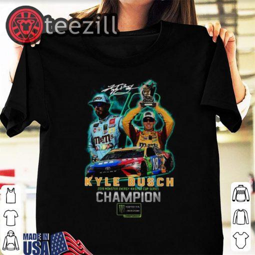 Kyle Busch Joe Gibbs Racing Team Monster Energy Champion Shirts