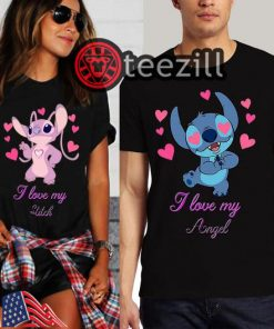 Men's Stitch and Women's Angel Couple Disney Shirt Couple Love T-Shirts