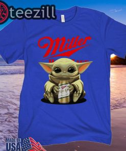 Miller High Life Beer hug Baby Yoda T-shirt