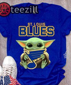 New Baby Yoda Hug St. Louis Blues Logo Shirt Tshirt