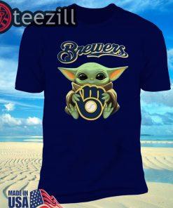 New Baby Yoda hug Milwaukee Brewers Logo T-Shirt