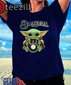 New Baby Yoda hug Milwaukee Brewers Logo TShirt