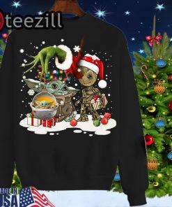 Official Baby Yoda And Groot Santa Christmas T-Shirt