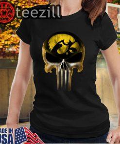 Skull Iowa Hawkeyes The Punisher Mashup NCAA Football Tshirts