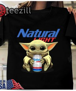 Top Baby Yoda Drink Natural light Shirt