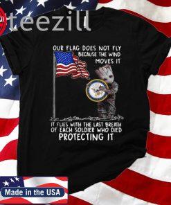Baby Groot Hug United State Navy American Flag Tshirt