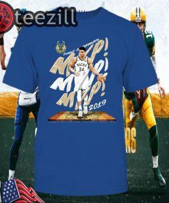 Giannis Antetokounmpo Milwaukee Bucks Fanatics Branded 2019 NBA TShirt