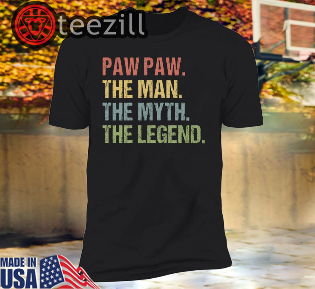 Clickbuypro Unisex T-shirt Paw Paw The Man The Myth The Legend Shirts For Mens Grandpa T-shirt Black 2xl