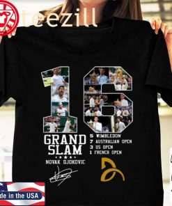 16 Grand Slam Novak Djokovic Signature Tshirt