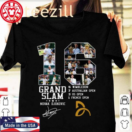 16 Grand Slam Novak Djokovic Signature Tshirt
