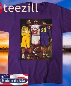 NBA Legends Kobe Bryant, Lebron James & Michael Jordan Poster Wall Art Decor Framed T-Shirt