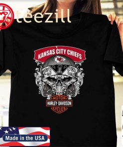 Skull Kansas City Chiefs Harley Davidson Motor Cycles Tshirt