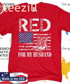 US RED Friday For My Deployed Husband Military Wife Soldier T-Shirt