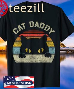 Cat Daddy Men Vintage Retro Black Cats Dad Fathers Day 2020 Gift T-Shirt