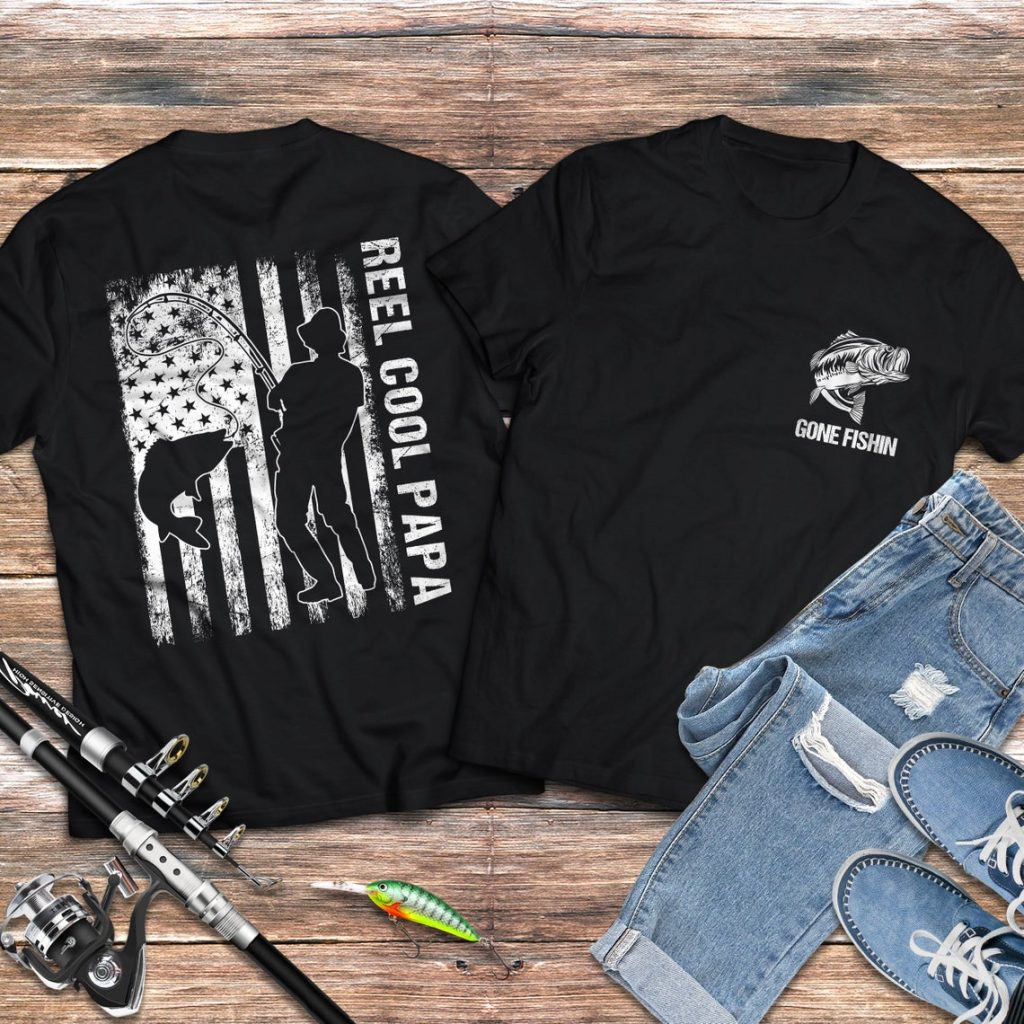 Reel Cool Papa Gone Fishin American Flag Father's Day Gift ...