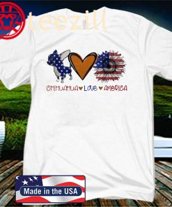 Chihuahua Love Heart Sunflower American Flag Unisex Shirts