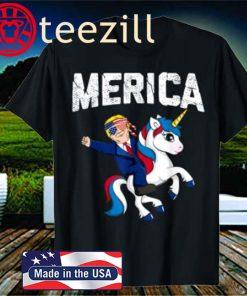 Merica Trump Riding Unicorn Funny Reelect Vote Donald Shirts