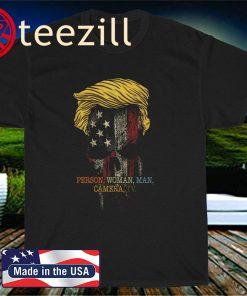 Person, woman, man, camera, TV Funny Trump Skull Orange Hair America Flag Tee Shirt