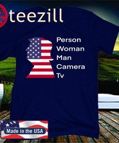 Person woman man camera tv cognitive test Trump Shirt