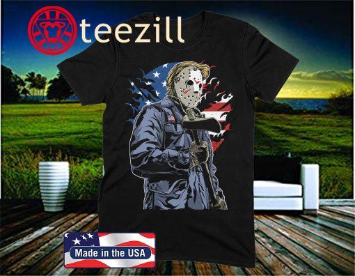 American Killer T-Shirt - Men's Novelty Gift Funny Donald Trump Politics USA Halloween Horror Friday 13th Jason Voorhees