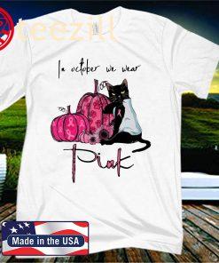 Black cat pumpkin breast cancer awareness in October we wear pink Halloween t-shirt