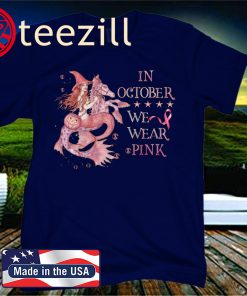 In October We Wear Pink Witch Riding Seahorse Halloween Breast Cancer Awareness 2020 Shirt