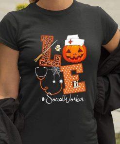 2020 Halloween Pumpkin Love Social Worker T-shirt