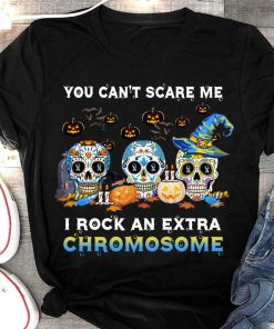 2020 Halloween Skull Tattoos witch you can't scare me I rock an extra chromosome Tshirt