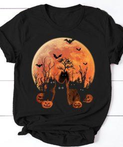 Black Cat Fluffy Cat Blood Moon Halloween T-shirt