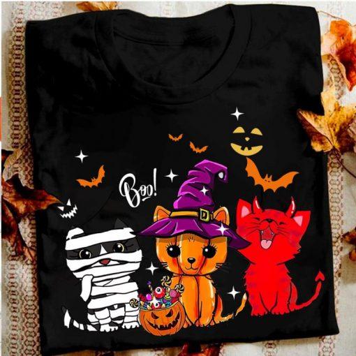 Cats Witch Mummy Boo Scary Pumpkin Halloween Horror Costume Shirt