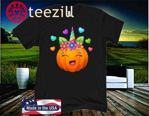 Cute Unicorn Pumpkin For Halloween Girls 2020 Shirt