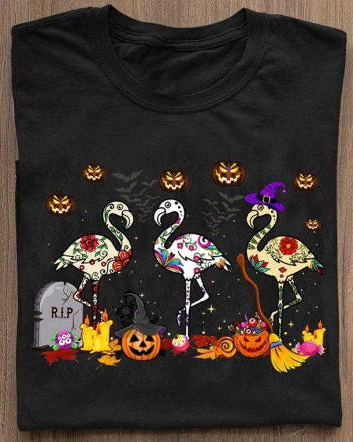 Flamingos In Costume Pumpkins Witch Grave Halloween Happy Shirt