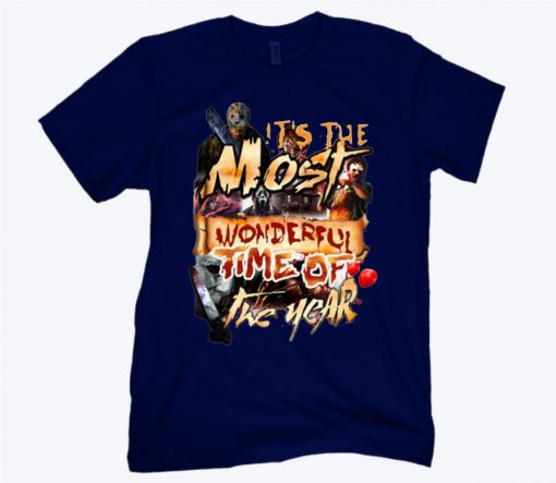 Horror Characters Halloween It's The Most Wonderful Time Of The Year Blood Classic T-Shirt
