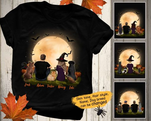 Personalized custom dog & couple t-shirt tee Halloween 2020 gift for dog mom dad lover T-Shirt