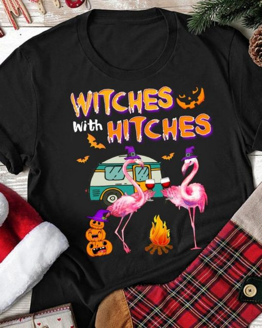 Witches With Hitches Halloween 2020 Flamingo Wine T-Shirt