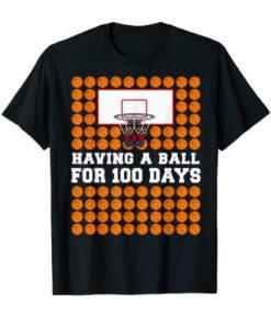100 Days Of School Basketball 100th Day Balls Gift For Boys Gift Tee Shirt