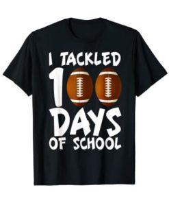 100 Days Of School Football 100th Day Gifts Boys TShirt