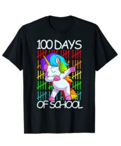 100 Days Of School Shirt Girls Unicorn Lover Gift T-Shirt