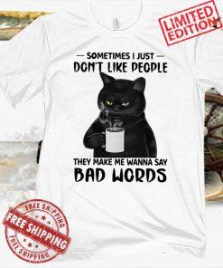 Black Cat Drink Coffee Tee Shirt