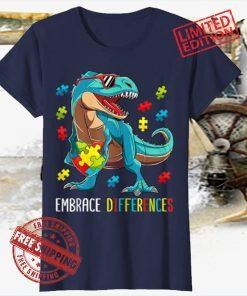 Dinosaur Puzzle Piece Autism Awareness Official T-Shirt
