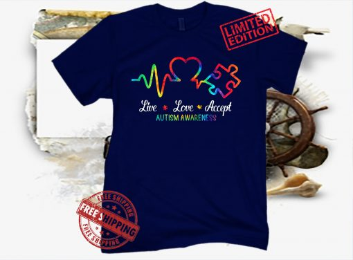 Live Love Accept Autism Awareness Tie Dye Autism Mom Boy Kid Gift Shirt