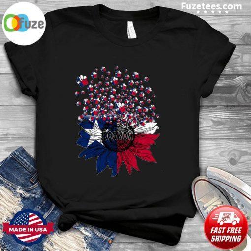 Texas Flag Dog Mom Sunflower Gift T-Shirt
