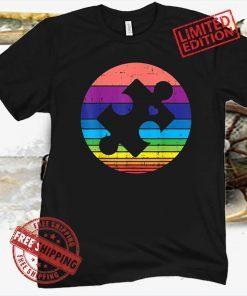 Vintage Retro Puzzle Heart Autism Awareness 2021 Shirt