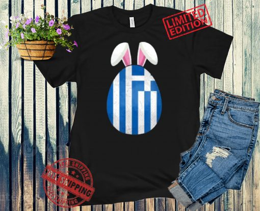 2021 Greece Flag Egg Bunny Ears Greek Easter Sunday Shirt