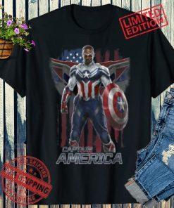 2021 Marvel Falcon Winter Soldier Captain America Flag Portrait T-Shirt