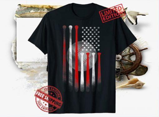 American Flag Vintage Baseball Flag Shirts, Dad, Mom Tee Shirts