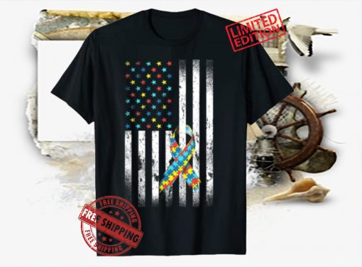 Autism Awareness Distressed American Flag Puzzle Ribbon T-Shirt